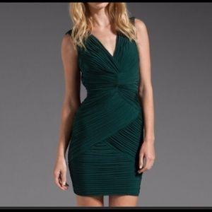 BCBGMaxzaria Edesa V Neck Shirred Dress Sz M Green
